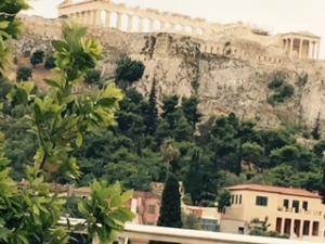 Acropolis from the hotel Plaka rooftop