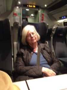 Ann asleep on train to Basel after quite a long day! We arrived in Basel at 10.45pm and just as we walked out of the station a taxi pulled up..the only one around at that hour!