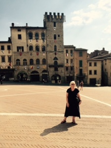 Piazza Grande at Arezzo in Tuscany on a very quiet Sunday afternoon.