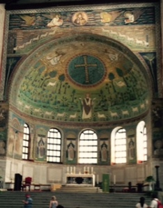 Impressive apse of St Appolonius in Classe with sheep, the hand of God, Moses and Elijah