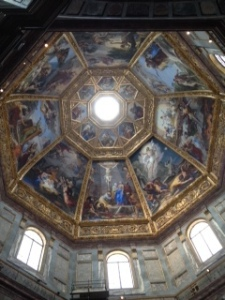 Ceiling of Principal Medici chapel in San Lorenzo Florence.  Vast and over the top is the only way to describe this chapel
