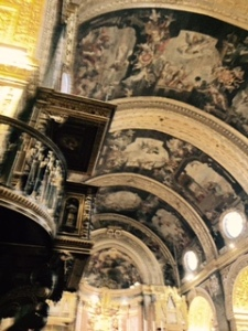 Ceiling of St John's Hospitallers Catholic Co-Cathedral ..paintings of Biblical themes.