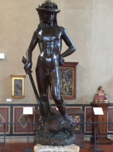 Donatello's somewhat androgynous 'David' in the Bargello. The first free-standing sculpture created in the Renaissance