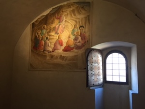 inadequate photo of a monk's cell in the San Marco Convent Florence with wonderful frescos by Fra Angelico in each cell beautifully preserved.