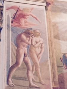 Massachio fresco of Adam and Eve after