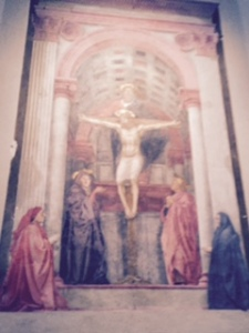 Massachio painting of the Trinity in St Maria Novella church Florence