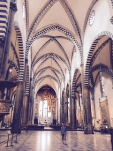 interior of St Maria Novella church Florence Romanesque than Alberti Gothic additions