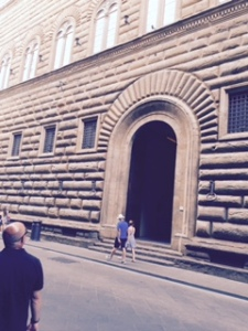 Palazzo Strozzi Florence oversized storey height  3xnormal see size of people cf Hitler at Nuremberg