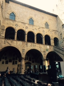 interior wall of the Bargello - rather forbidding, formerly palazzo, then prison, now a museum