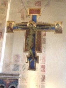 Cimabue flood damaged crucifixion in Santa  Croce 'Chapter House'
