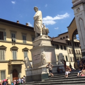 Dante statue outside Santa Croce church