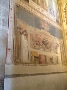 Giotto fresco of death of St Francis in Bardi chapel alongside Sanctuary of Santa Croce church