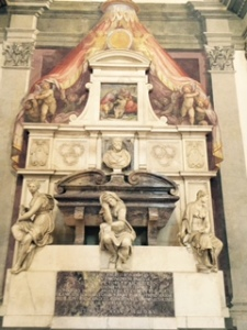 Michelangelo's tomb in Santa Croce church Florence by  Vasari with figures representing sculpture, art and architecture