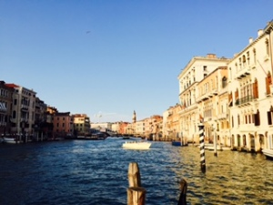 Grand Canal Venice looking towards the Rialto Bridge in early evening light