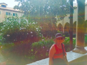 Ann in the hibiscus garden at St Anthony's Cathedral in Padua