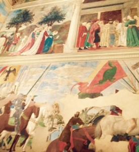 frescoes by Piero della Francesca in Basilica di San Francisco in Arezzo Italy. The frescoes surround the high altar.