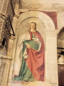 Fresco of Mary Magdalene by Piero della Francesca in the Duomo Arezzo Italy.