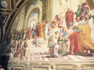 The crowd in this Papal apartment forbad a proper perspective but this painting by Raphael with Plato conversing with Aristotle and mathematicians and philosophers of every suit arguing their case, for me summarises the best of the Renaissance.. It is an absolute wonder
