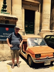 A very early convertible fiat outside St Paul's Anglican Cathedral