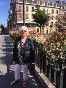 Ann on the bridge over the Ill River in Strasbourg. The Ill is a tributary of the Rhine and the flowers along the bridge were a sensation as is my amazing wife and travelling partner!