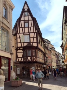 Colmar, 90kms south of Strasbourg on the French side of the Rhine. A fairytale town