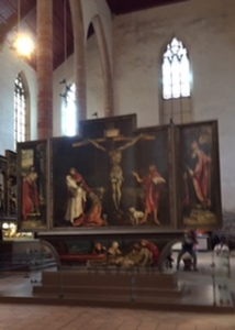 """Grunewald's"" C16th masterpiece ..part of the Isenheim altar piece from the Unterlinden Museum in Colmar. It is the town's greatest claim to fame"