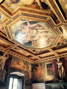 Vasari painted every room in the house including the ceilings and man of the paintings now hanging around the walls. This is part of the reception room ceiling