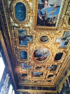 Doge's Palace Venice; one of many painted and crafted ceilings with extraordinary painting and woodwork and gilt. The ceilings and the rooms just became vaster and vaster as we proceeded through the palace