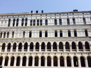 Inside beautifully restored colonnades of the Doge's Palace in Venice