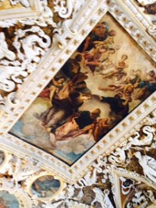 Doge's Palace Venice ..amazing painted and crafted ceilings just on the stairways