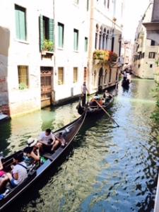 Gondola log jam in Venezian canals