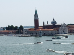 View of the harbour of Venice from St Mark's Square looking towards the Salute Church