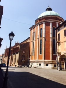 The Vicenza Duomo designed by Palladio along with others; destroyed by allied bombing in WW11 but now restored