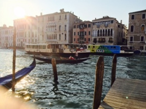 Water bus on the Grand Canal Venice.  Very crowded during the day but not so much in the evening