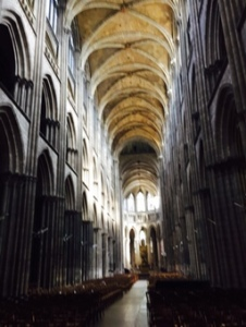 Interior nave of Amiens Cathedral from the rear of the nave. Gothic purity!