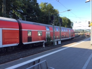 Impressive double decker train at Aachen station