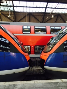 European trains in action including double decker trains