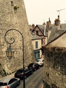 Blois ancient city wall and street view