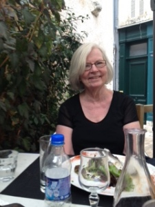 Ann enjoying a long lunch at  Le Petit Hornfleur restaurant, high above the town of Blois in France
