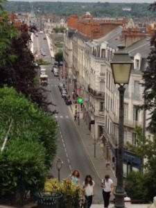 View of the main drag in Blois showing the vertical differentiation in the town. It is built on a rocky hill alongside the large river valley of the Loire