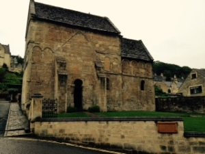 Tiny Saxon church of St Laurence in Bradford on Avon dating back to at least the C12th where it is noted by William of Malmesbury