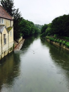 View of the Avon River at Bradford On Avon on a fairly grey day for an English summer