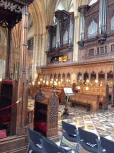 1298 choir stalls in Bristol Cathedral