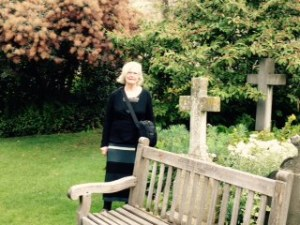 Ann in the memorial garden of Bristol Cathedral