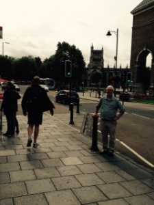 Richard in sight of another cathedral in Bristol