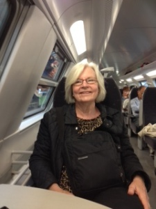 Ann on the local train to Bruges first thing in the morning!