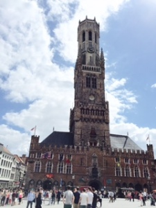 Bruges very tall belfry, part of the mediaeval Market Halls building dominating Markt Square, the centre of the city