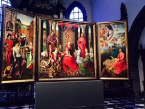 Memlings altar piece: St John the Baptist and St John the Evangelist in the St John's Hospital art museum Bruges