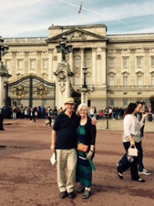 Ann and Richard at the front of the West face of Buckingham Palace