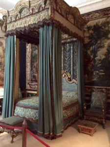 Burghley House blue silk bedroom